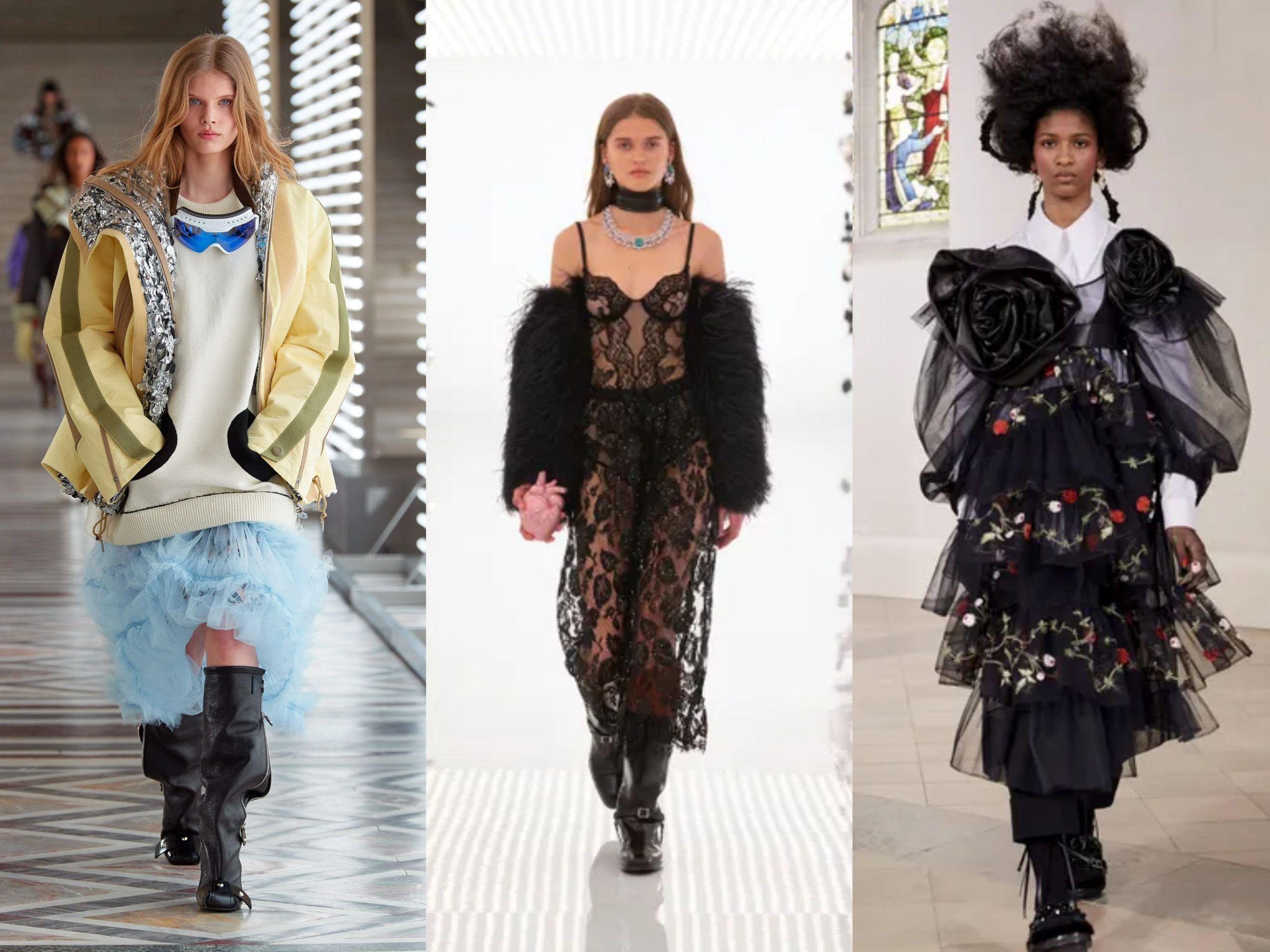 Models wearing AW21 trends sheers and ruffles