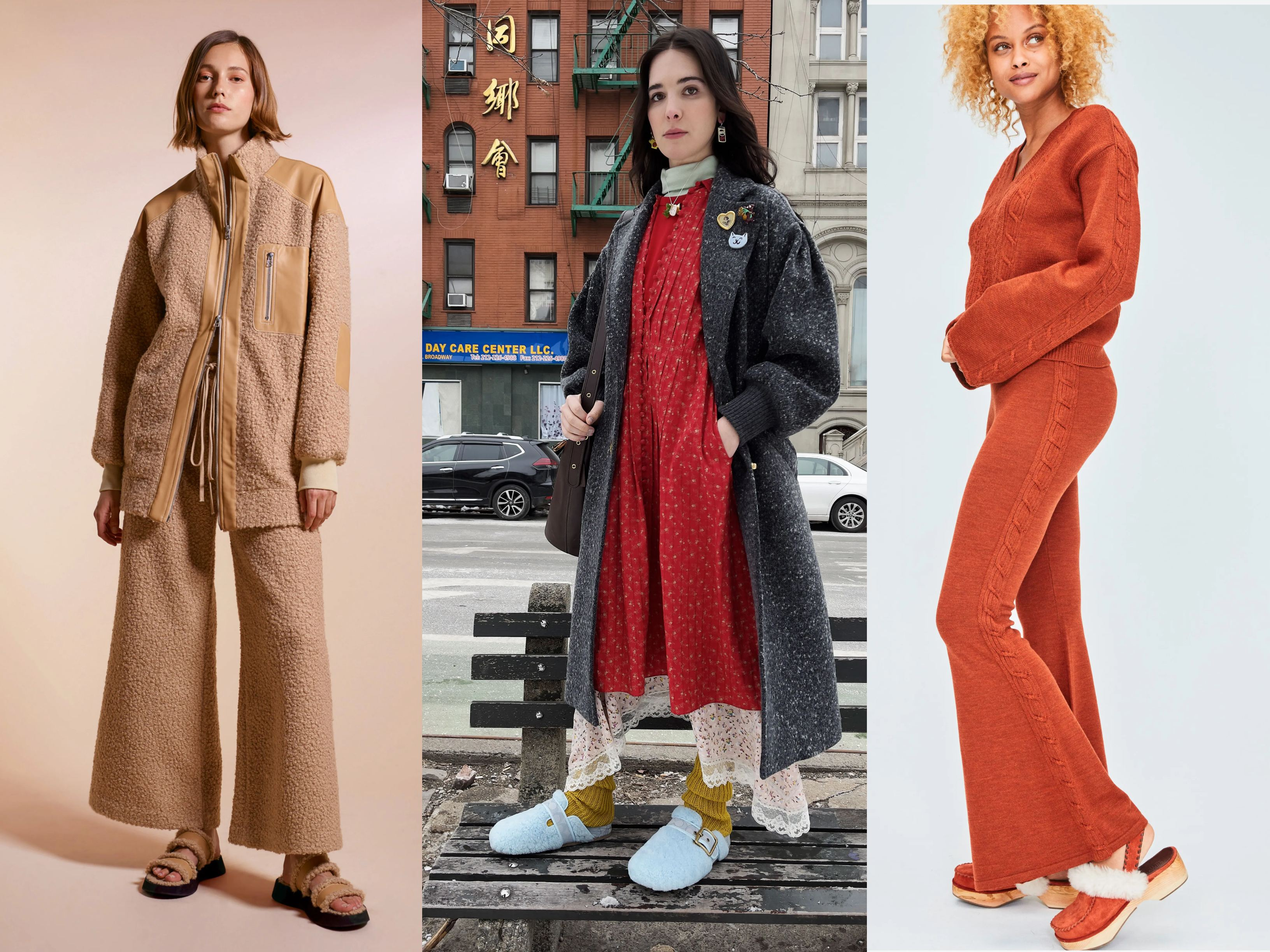 Models wearing AW21 Trends Slip on shoes