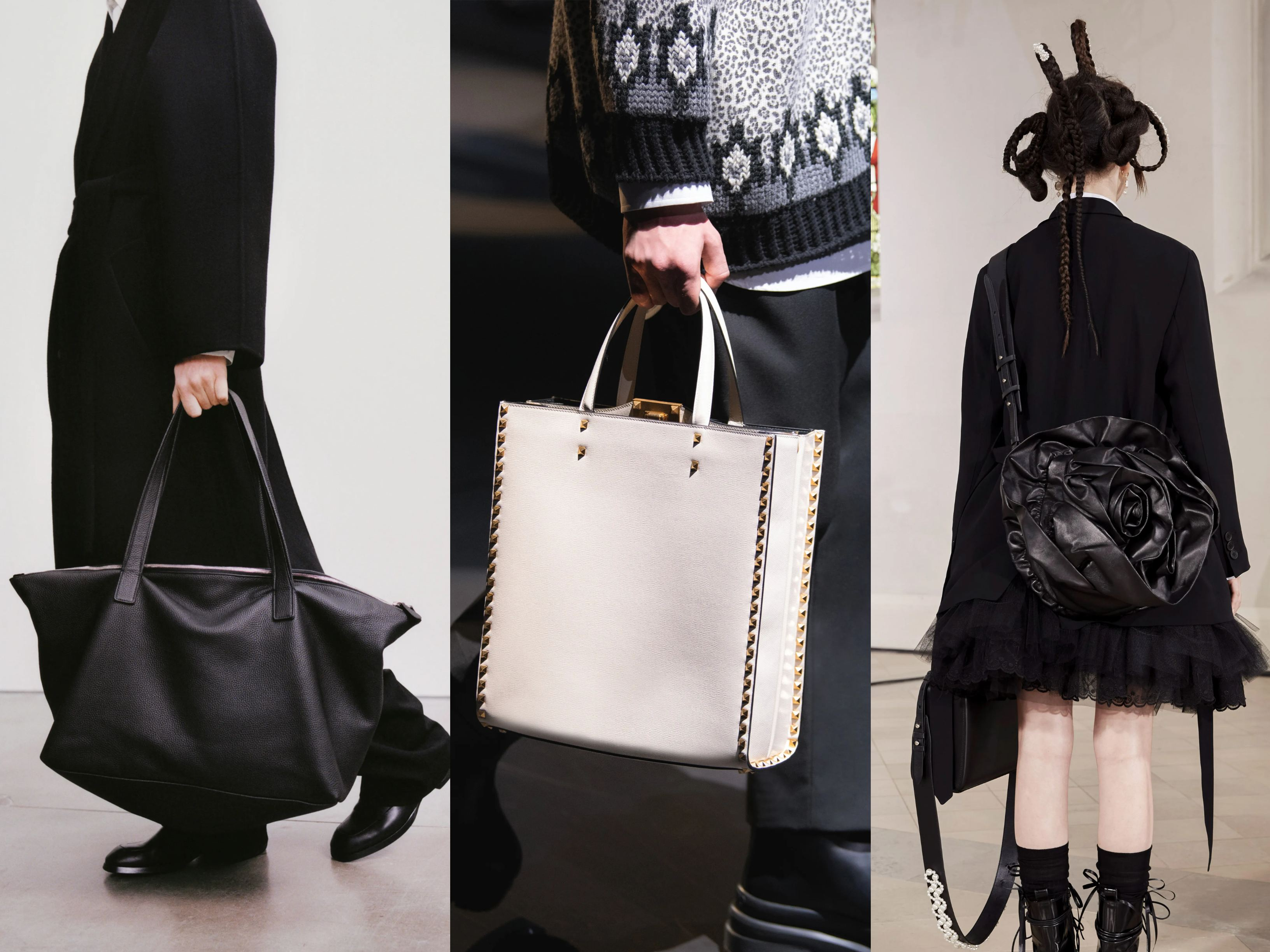 Models wearing AW21 trends tote bags