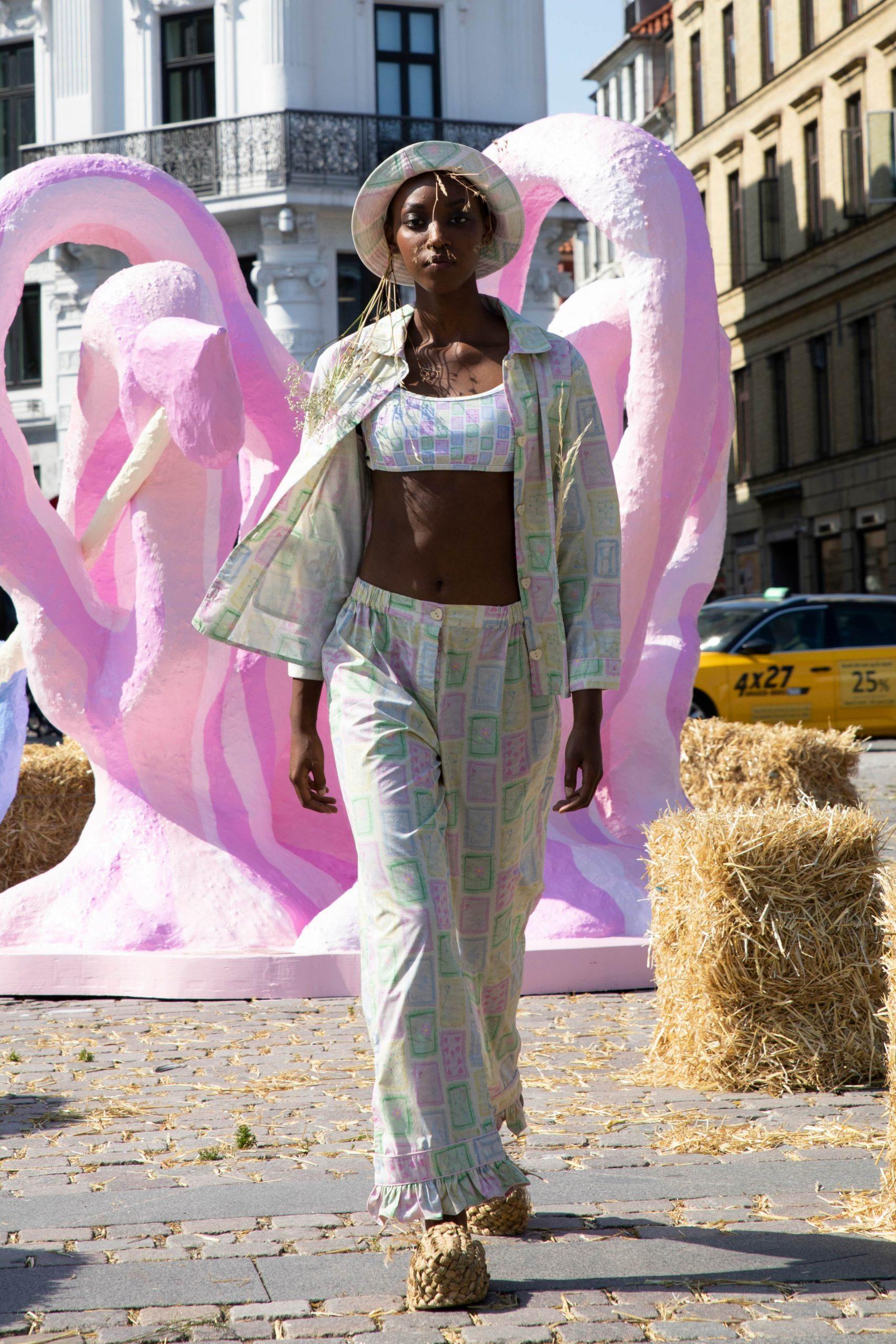A women wearing Helmstedt in street runway