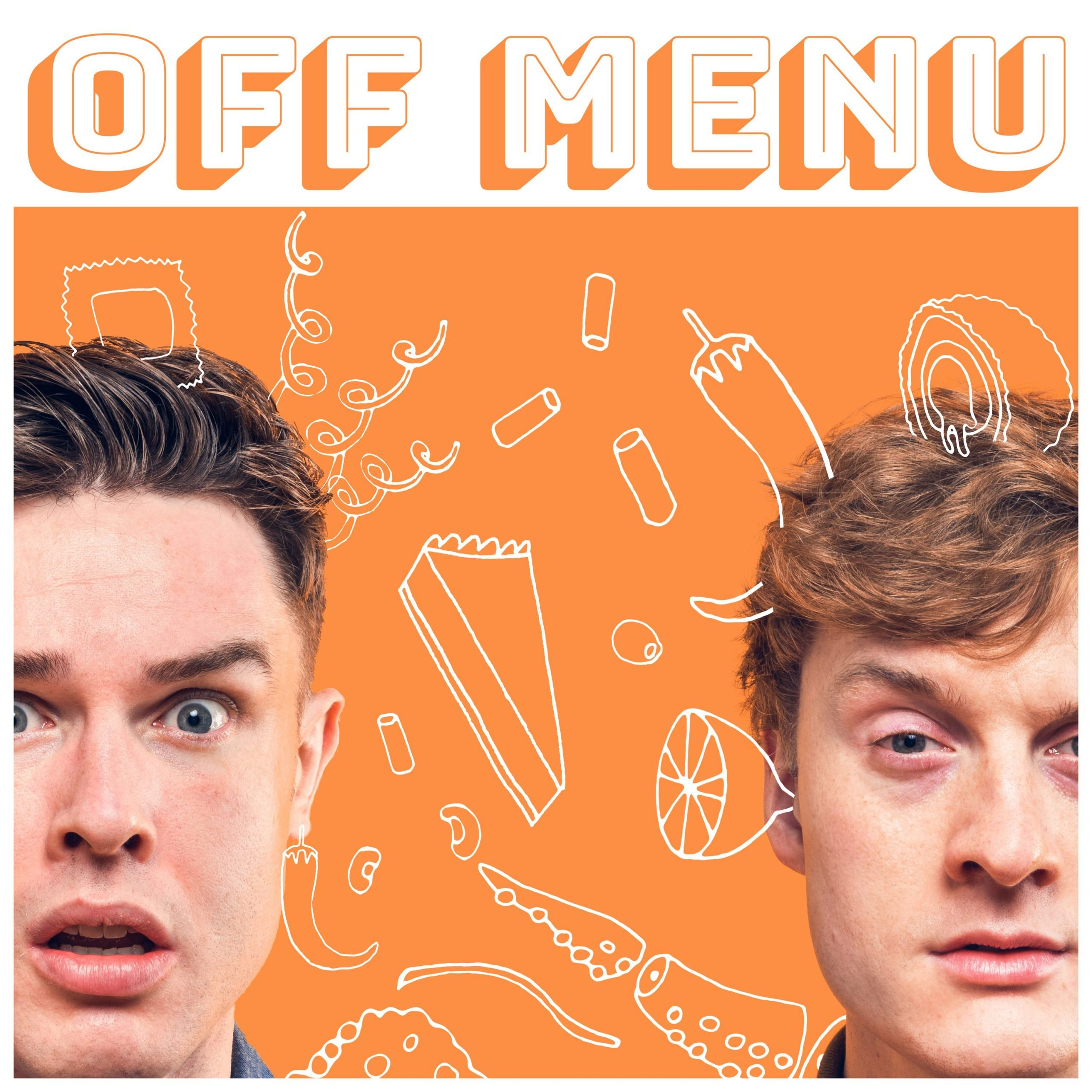 Two mens heads on a orange background