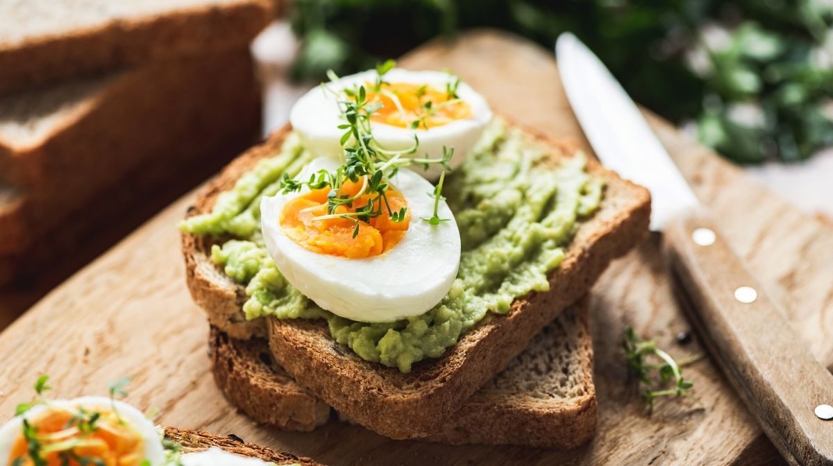 avocado and hard-boiled eggs on toast
