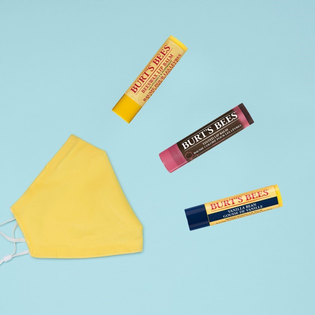 A face mask alongside a number of Burt's Bees Lip Balms, the perfect product to combat dry lips