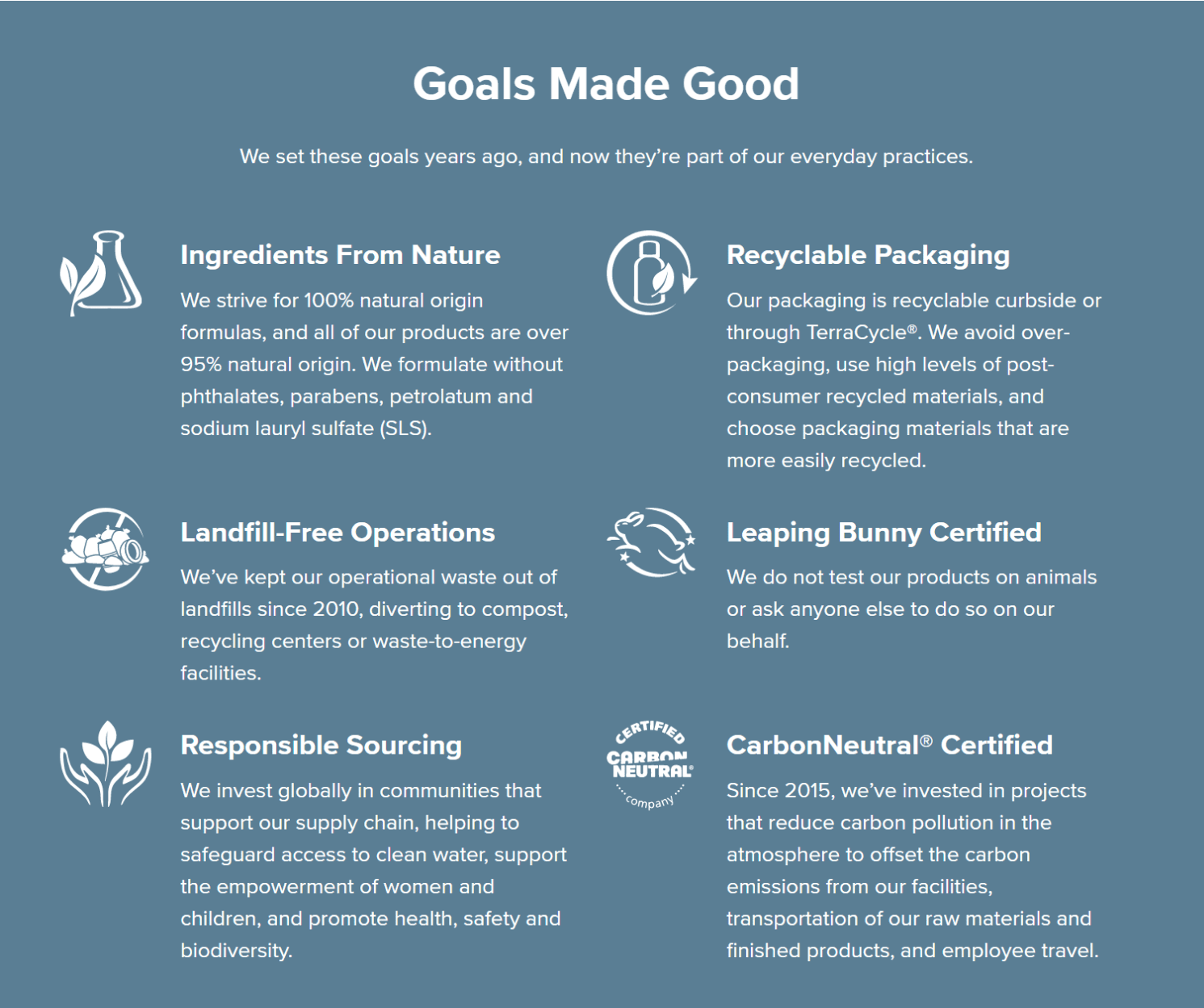 Goals that we have achieved such as sourcing ingredients responsibly and using recyclable packaging