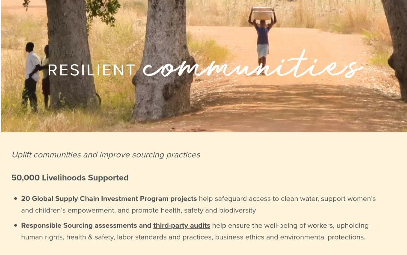 Another 2025 goal is to help communities to become more resilient & to continue to improve sourcing practices.