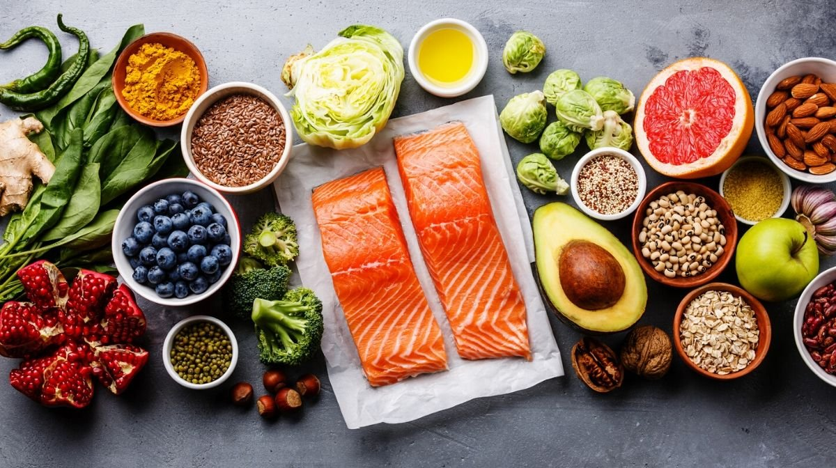 Foods rich in omega-3, including salmon, nuts and seeds