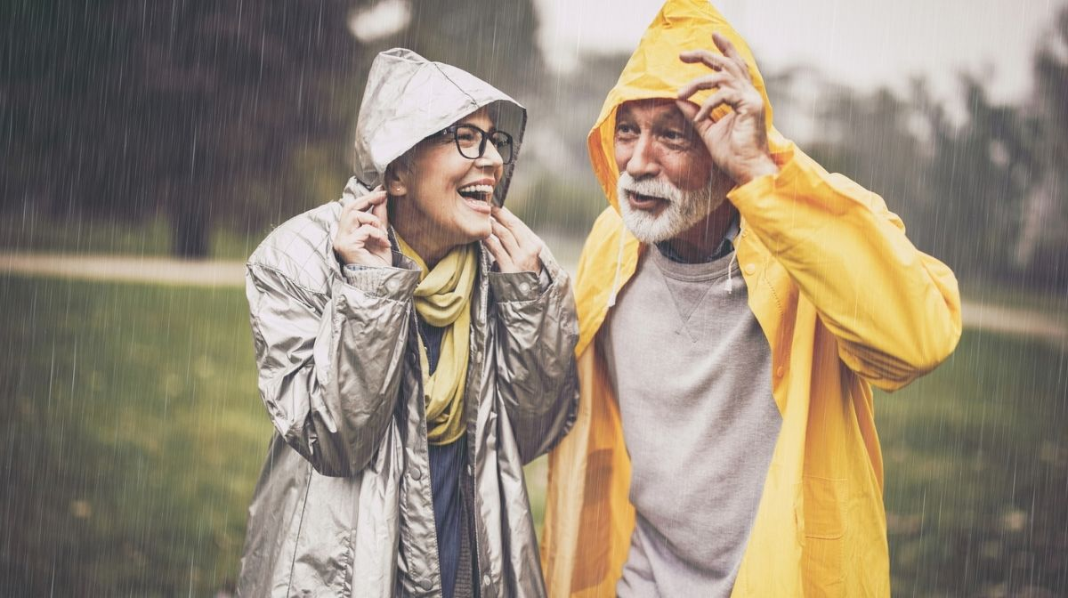 couple enjoying a walk in the rain