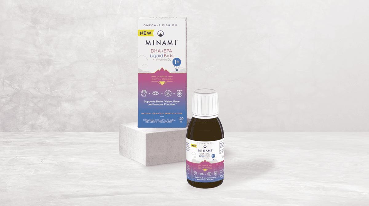Product shot of MINAMI liquid omega-3 for kids
