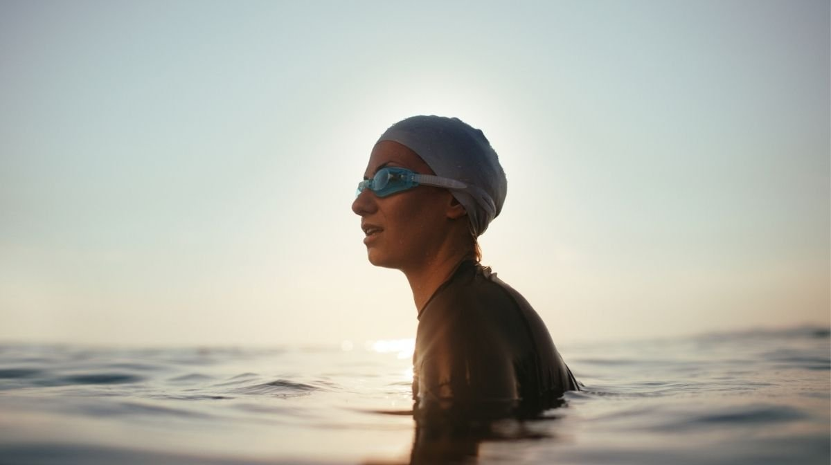 woman swimming in open water