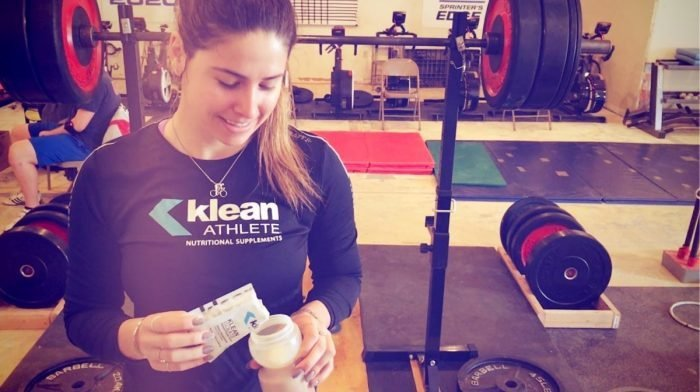 Klean Athlete making a post-workout recovery drink