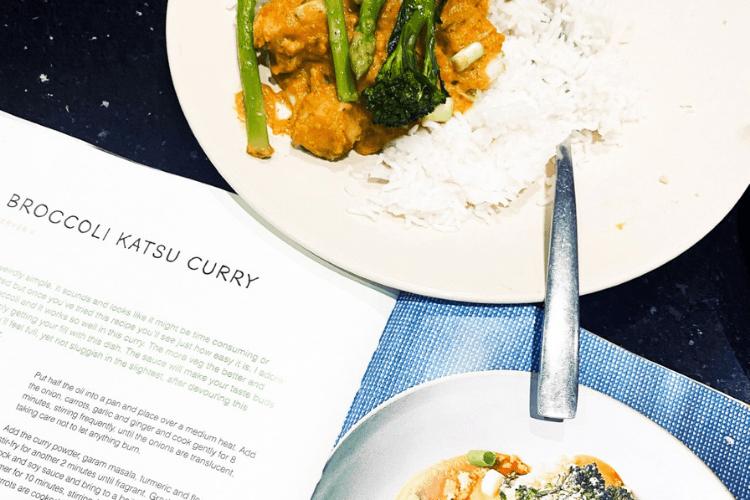 Vegan broccoli katsu curry