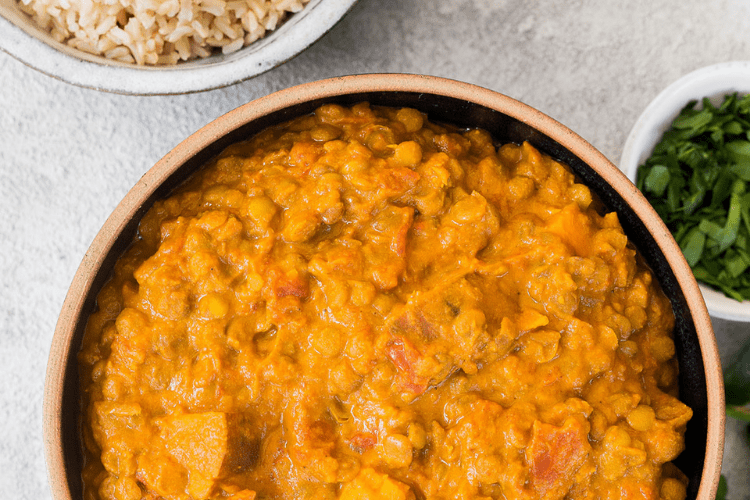 lentil, sweet potato and coconut curry