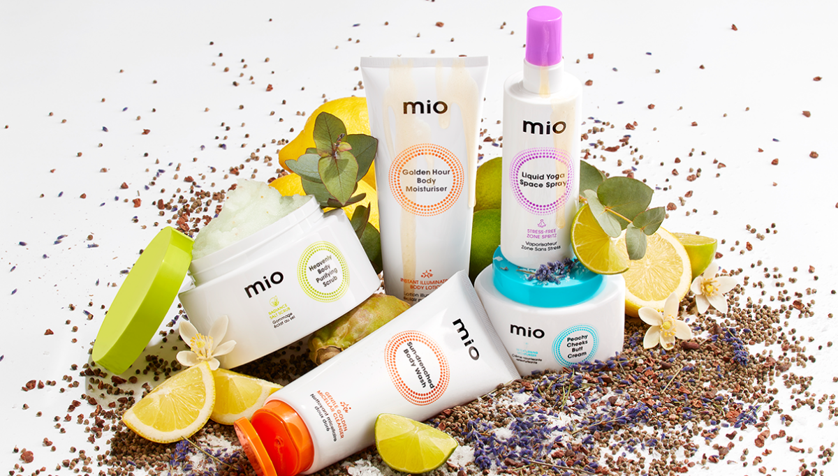mio birthday products and fruit ingredients