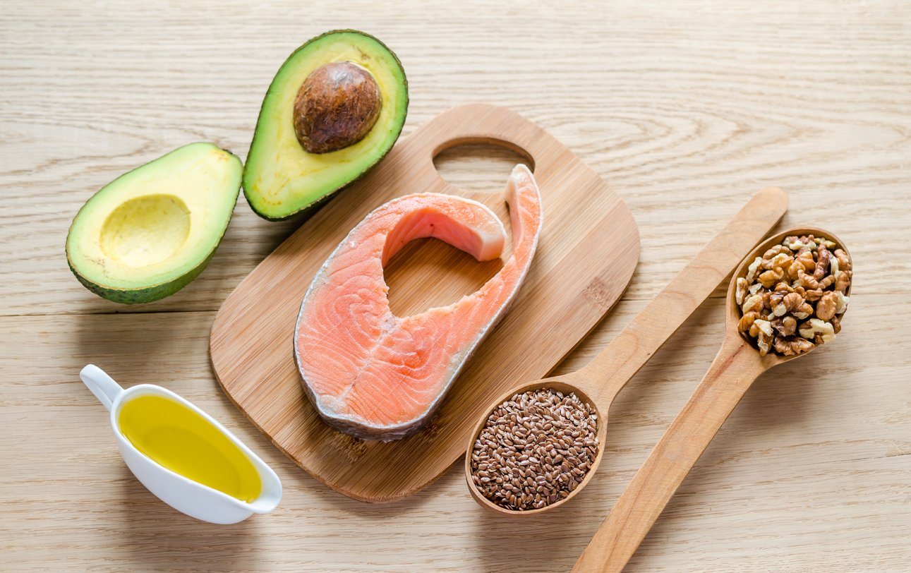 An assortment of foods with unsaturated fats