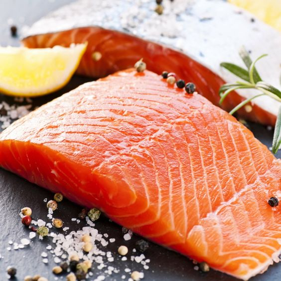 pink salmon with a slice of lemon