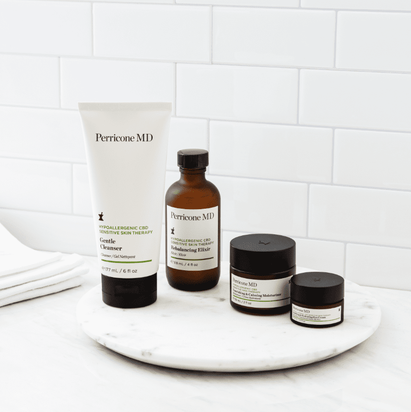 collection of CBD products on a bathroom counter