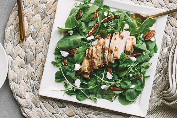 Watercress and Baby Arugula with Chicken, Goat Cheese and Pecans Recipe