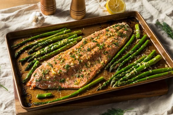 Baked Filet of Salmon with Asparagus and Caper-Enriched Lemon Sauce