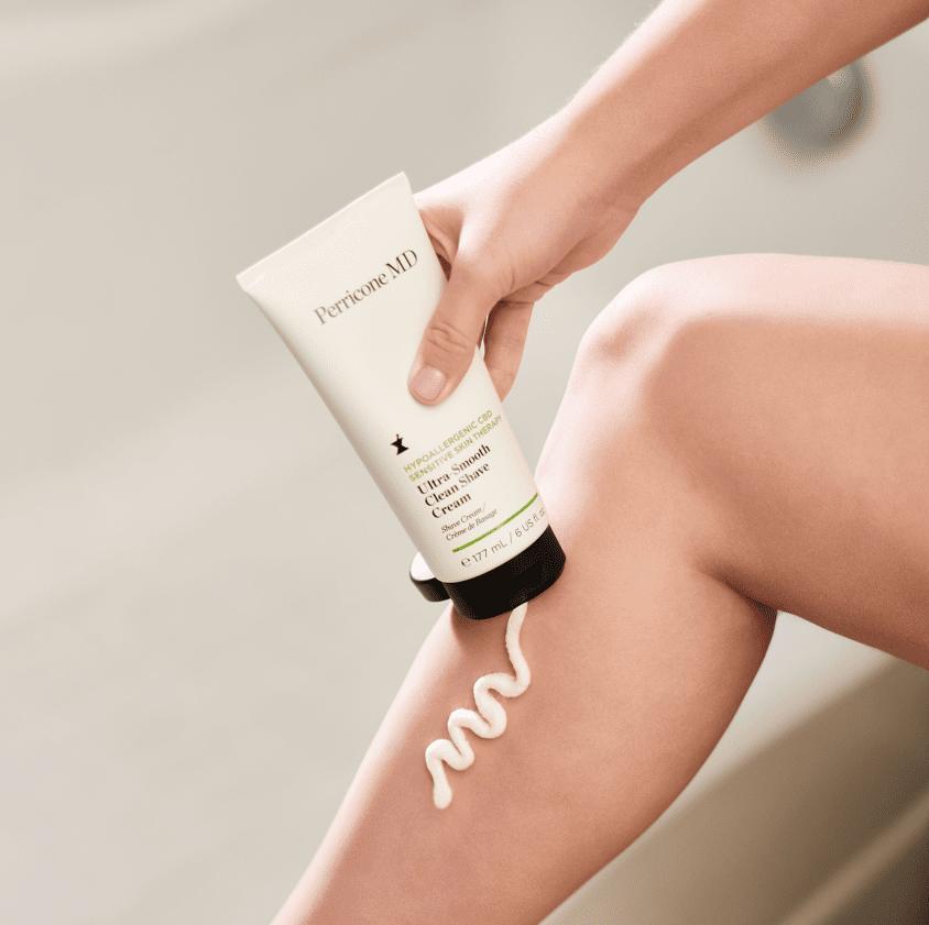 Shower Cream Applying on Legs