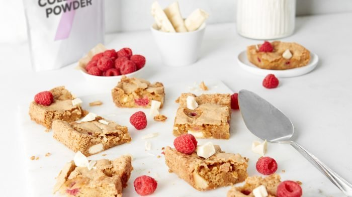 Raspberry & White Chocolate Collagen Blondies