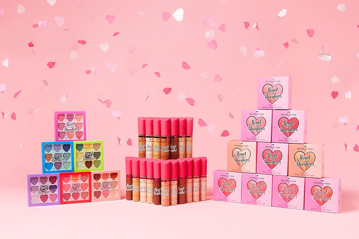 heart-shaped collection of blushers, highlighters, palettes & concealers for Palentine's Day
