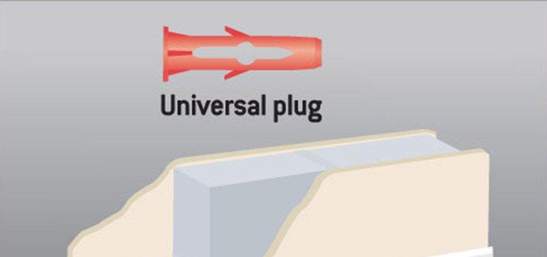 Use universal plugs on lightweight block with plaster finish