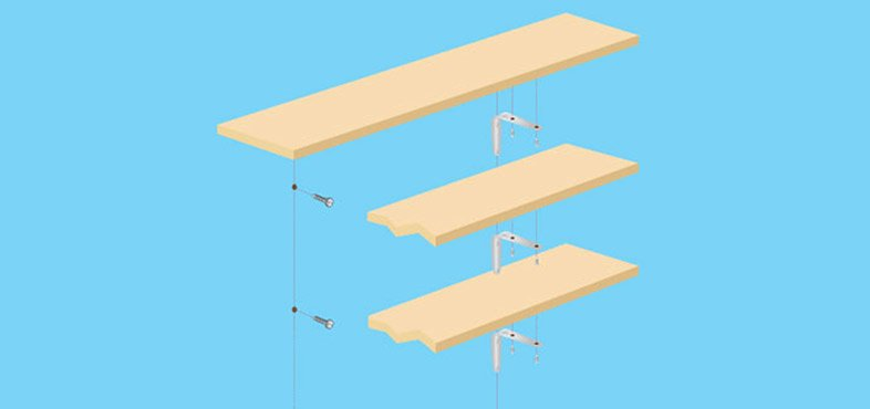 Use a spirit level to line up multiple shelves