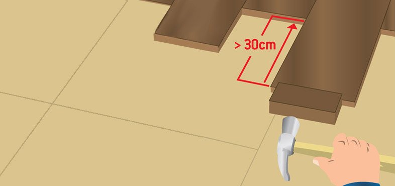 Stagger the adjacent end joints by at least 30cm