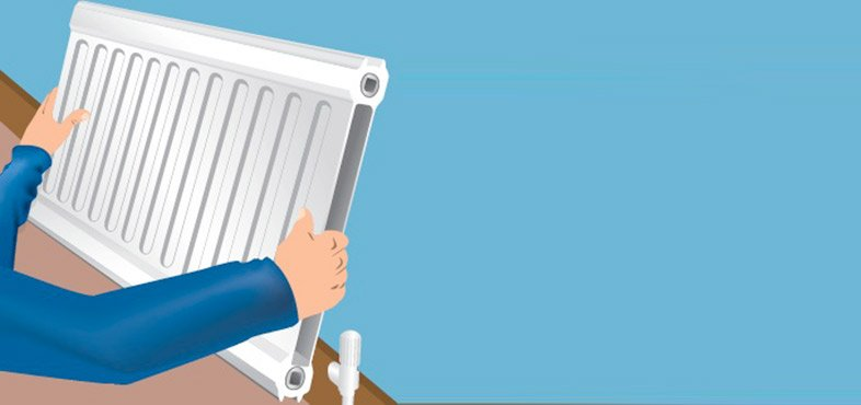 remove the empty radiator from the wall brackets