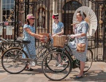Ladies on vintage bikes
