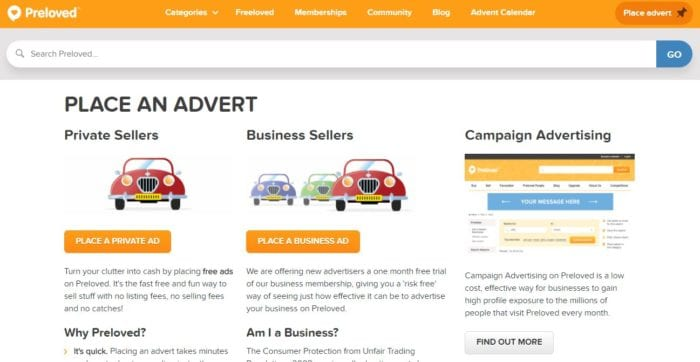 Advert listing page