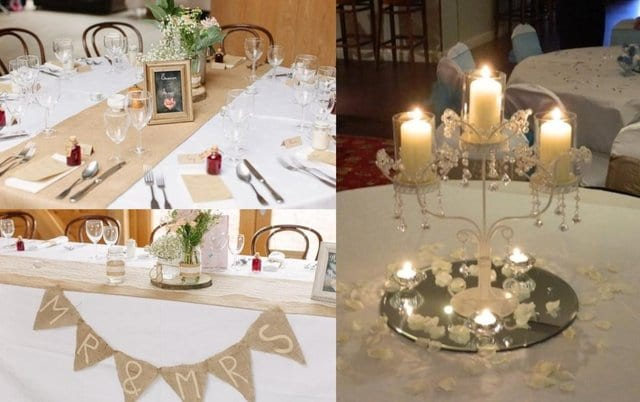 Second hand wedding table settings