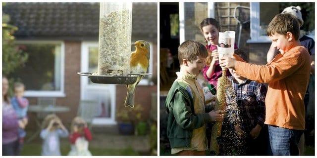 Children with birds