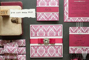 red wedding stationery set