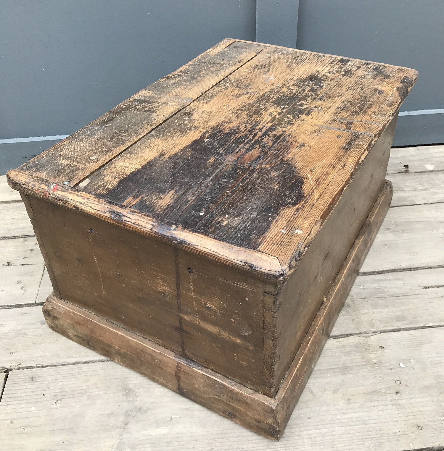 19th C small pine trunk 2nd image