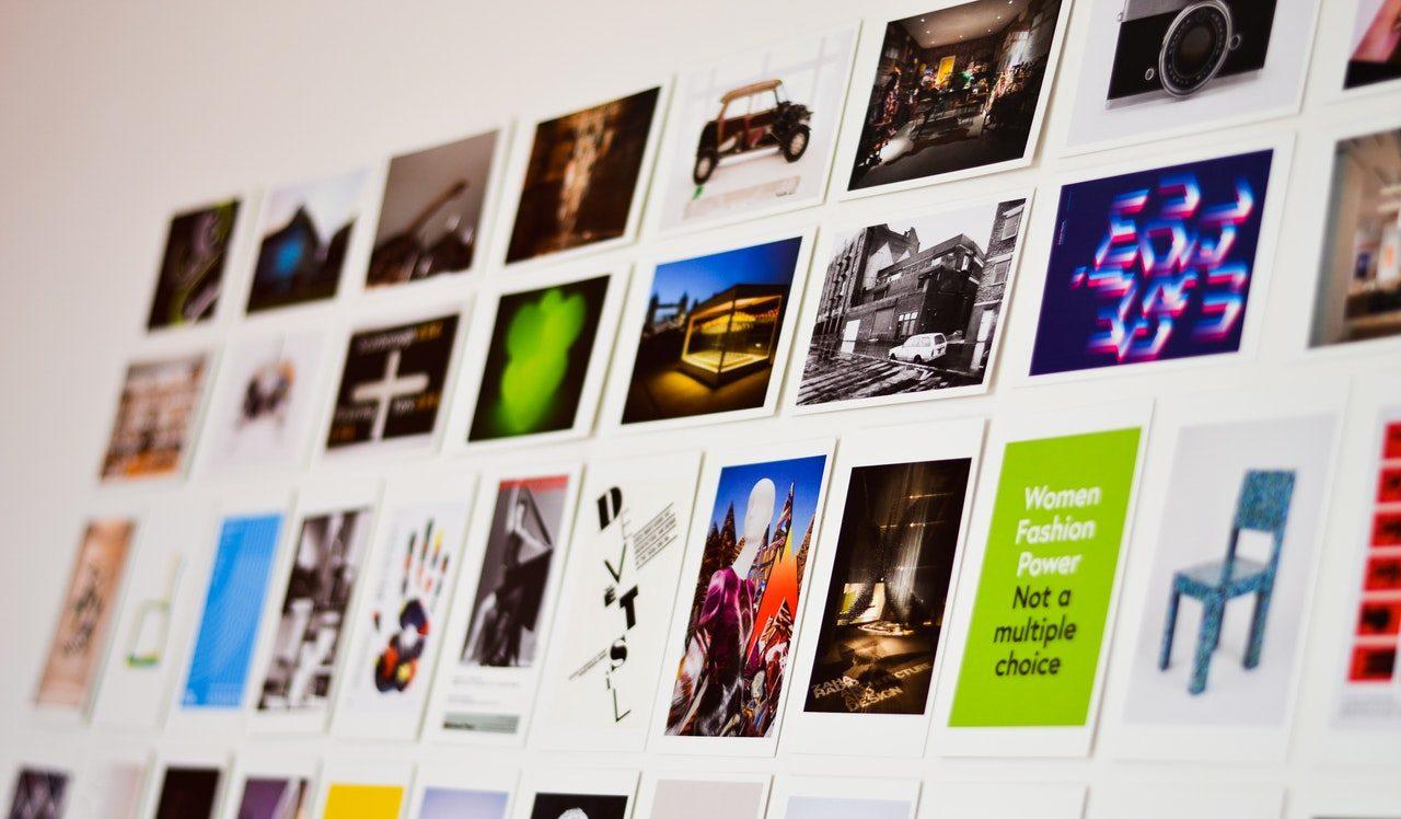 photos stuck on wall