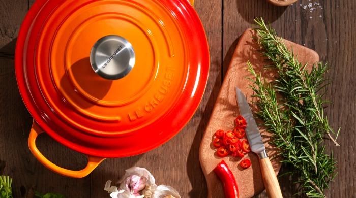 A volcanic Le Creuset casserole dish.