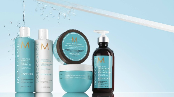 A selection of Moroccanoil Hydration hair products in our guide on how to use Moroccanoil.