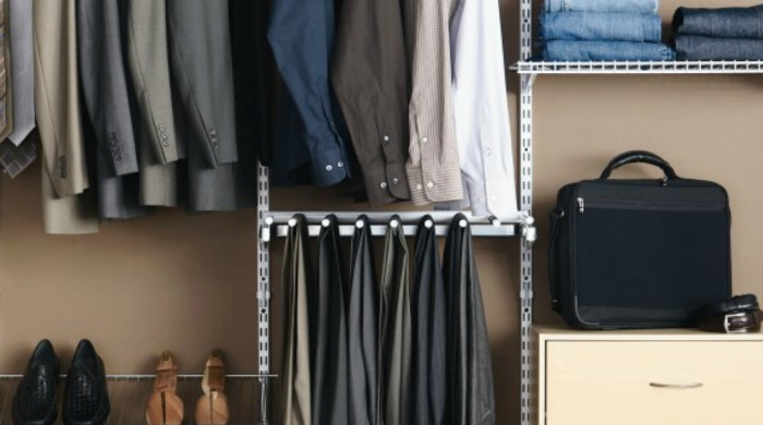An organised man's wardrobe.