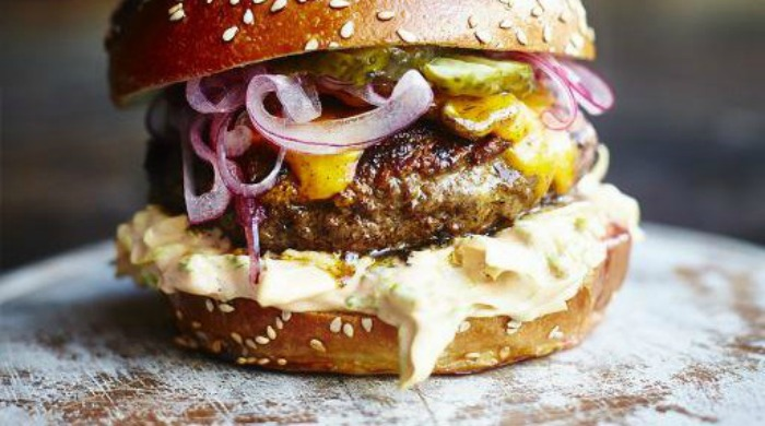 An 'insanity' burger by Jamie Oliver.