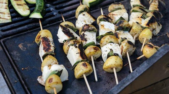 Halloumi, new potato and sage kebabs.
