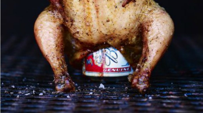 A barbecued chicken stuffed with a beer can.