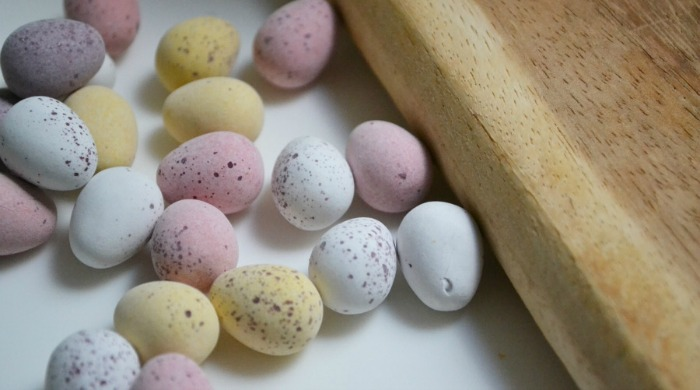 Mini Eggs on a counter top.