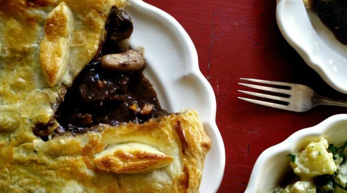 A steak, mushroom and Guinness pie.