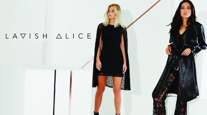 Two models wearing black Lavish Alice clothing.