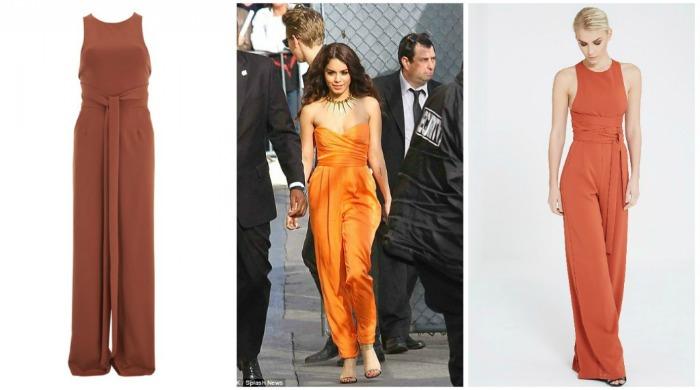 Vanessa Hudgens wearing an orange jumpsuit.