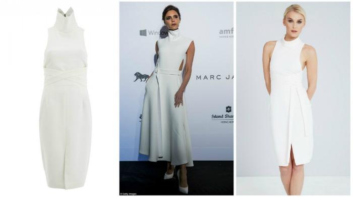 Victoria Beckham wearing a white dress.