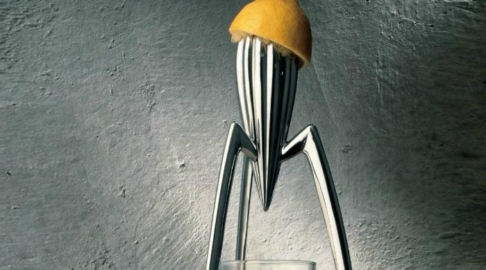 The silver Alessi Juicy Salif Lemon Squeezer.