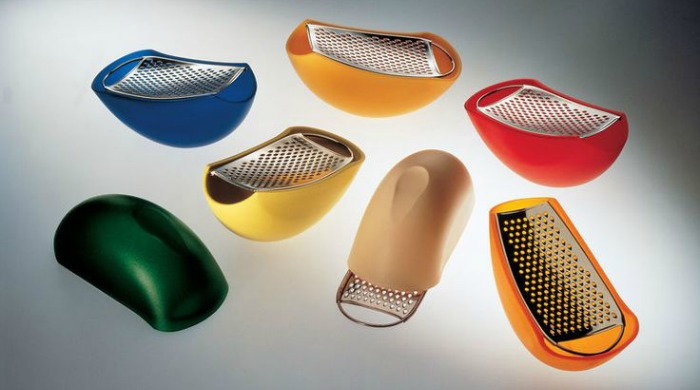 A collection of Alessi Parmenide Graters in different colours.