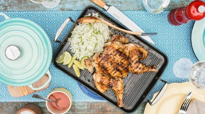 Butterflied Brazilian chicken and coriander rice.